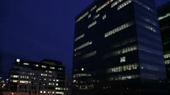 Overwork Concept Office Buildings at Night 01 Stock Footage
