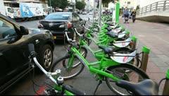 Stock Video Footage of New public bicycle rental project in Ben Yehuda Street in Tel Aviv, Israel