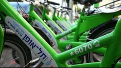 New public bicycle rental project in Ben Yehuda Street in Tel Aviv, Israel Stock Footage