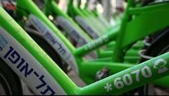 New public bicycle rental project in Ben Yehuda Street in Tel Aviv, Israel Stock Footage