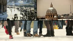 Rome under the snow - St. Peter, Colisseum Stock Footage