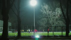 Soccer action in night Stock Footage