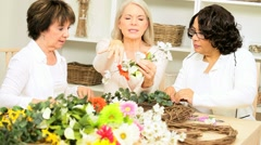 Mature Ladies Hobby Flower Arranging - stock footage