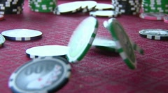 Poker Chips Bouncing in Slow Motion Stock Footage