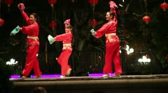 Stock Video Footage of Chinese Cultural Dance with Kerchiefs