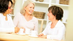 Older Ladies Drinking Coffee Home Stock Footage