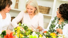 Multi Ethnic Retired Ladies Hobby Crafting - stock footage