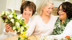 Older Ladies Hobby Crafting Fun Home Stock Footage