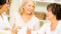 Older Ladies Drinking Coffee Home - stock footage
