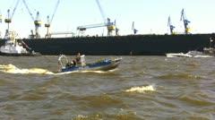 """Police boat ensures the fair """"Hafengeburtstag"""" Stock Footage"""