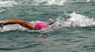 Swimming Competition- at sea Stock Footage