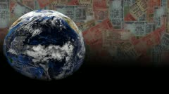 Rotating earth with scrolling Indian Rupees animation Stock Footage