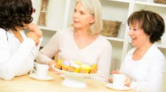 Older Ladies Enjoying Coffee Cake Home Stock Footage