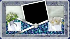 Tall frame pocket cloth floral lilac purple pic video scrapbook Stock Footage