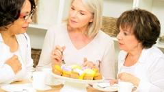 Mature Ladies Afternoon Tea Together Stock Footage