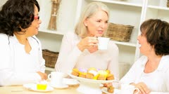 Older Ladies Tempted Coffee Muffins Home - stock footage