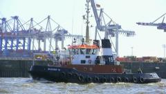 Towboat on Hamburg port Stock Footage