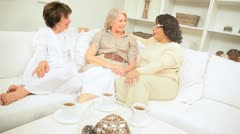 Senior Ladies Coffee Afternoon Stock Footage