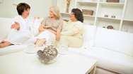Multi Ethnic Retired Girlfriends Coffee Together Stock Footage