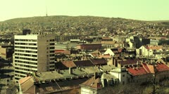European City Rooftops View 18 stylized Stock Footage