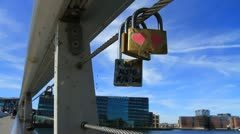 Love Padlocks on the Bryggebroen CU, Denmark GFHD - stock footage