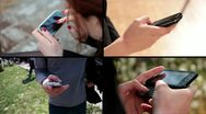 Stock Video Footage of Hands holding smart phone - multiscreen