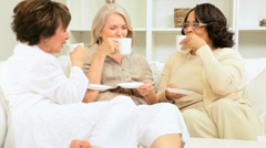 Older Ladies Coffee Friends Home  - stock footage