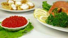 Salmon Steak And Red Caviar Stock Footage