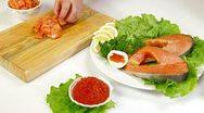 Salmon And Caviar Stock Footage