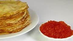 Pancakes With Caviar Stock Footage