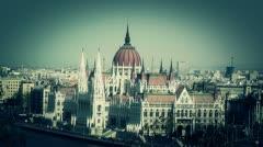 Hungarian Parliament Budapest Hungary 12 stylized Stock Footage