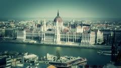 Hungarian Parliament Budapest Hungary 13 stylized Stock Footage