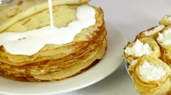 Stack Of Pancakes Stock Footage