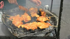 Street Vendor Grilling Chicken On Sidewalk Stock Footage