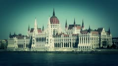 Hungarian Parliament Budapest Hungary 14 stylized Stock Footage