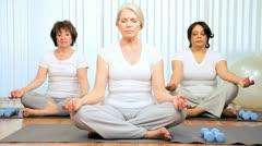 Senior Ladies Gym Yoga Class - stock footage