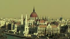 Hungarian Parliament Budapest Hungary 18 stylized Stock Footage