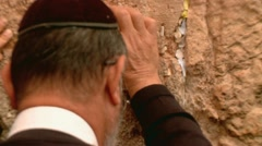 Jewish Man Prays at the Western Wall Stock Footage