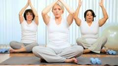 Health Club Yoga Group Senior Ladies Stock Footage