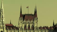 Hungarian Parliament Budapest Hungary 23 stylized Stock Footage