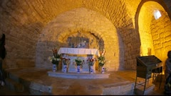 Tourists visit the Synagogue Church in Nazareth, Israel Stock Footage