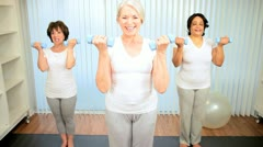 Caucasian Senior Females Using Weights Health Club Stock Footage