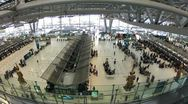 Stock Video Footage of Bangkok airport check-in counters crowded, timelapse
