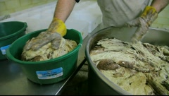 Halvah processing in Nazareth Tahini factory Stock Footage