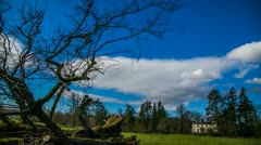 Scottish Skyline Timelapse With Mansion In Distance Stock Footage