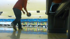 Bowler Striking Pins Stock Footage