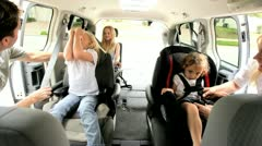 Young Daughters and Parents in Car Shopping Trip  Stock Footage