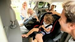 Parents Children Preparing Road Trip Stock Footage