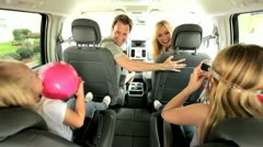 Young Caucasian Family in Car Beach Trip Stock Footage