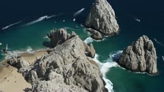 Stock Video Footage of el arco los cabos mexico air shoot coastline baja california sur
